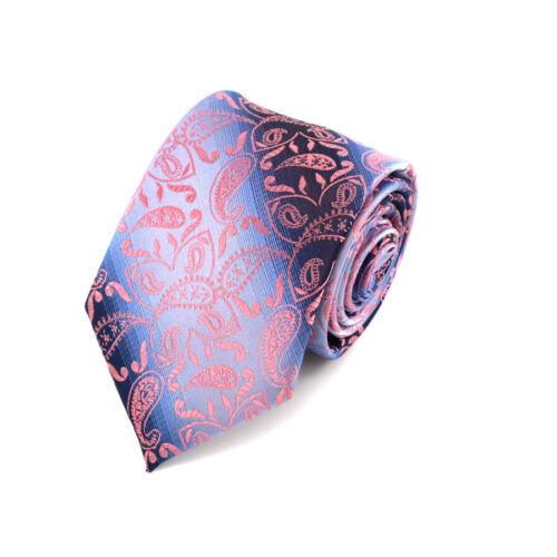Paisley Jacquard Classic mens tie Handkerchief Set Man Silk ties Wedding Pinks