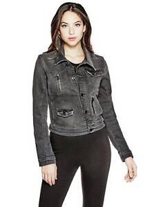 39c02a1b0 Details about GUESS ! Denim Biker jacket Blazer Black XS, S, M
