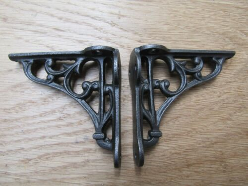 """PAIR OF 2.75/"""" Ornate Victorian Cast Iron Display shelf Wall Bracket Support"""