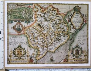 Old-Tudor-map-of-Monmouthshire-Wales-John-Speed-1600-039-s-15-x-11-034-Reprint