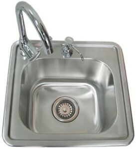 Details about Outdoor Kitchen Sink Built-in w/ Bar Faucet Soap Dispenser  Drain Stainless Steel