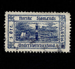 OPC 5ore Norske Sjomands Understottelsesfond Poster Stamp Used Faults