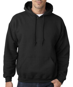 Plain Black Sweatshirt Hoodie Fleece Pullover Mens Womens Brand ...