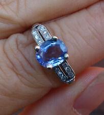 1.30ct Tanzanite 12 single cut diamond antique platinum 14k Engagement ring