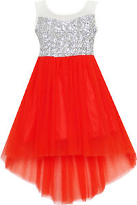 Robe-Fille-Sequin-Mesh-Partie-Mariage-Princesse-Tulle-Rouge-7-14-ans
