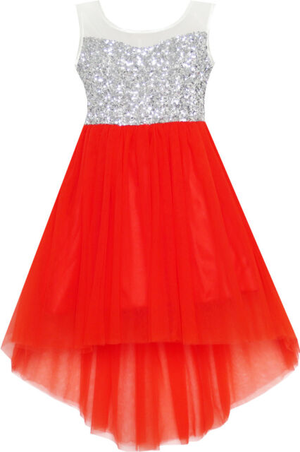 Robe Fille Sequin Mesh Partie Mariage Princesse Tulle Rouge 7-14 ans