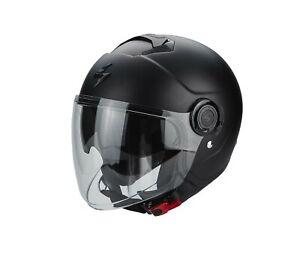 Scorpion-Exo-City-Casque-Jet-Casque-de-Moto-Scooter-Parasoleil-Noir-Mat