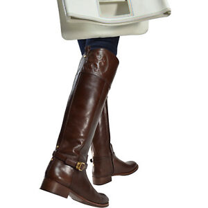 cc107be518dc Image is loading NIB-Tory-Burch-MARLENE-Polished-Smooth-Leather-Riding-