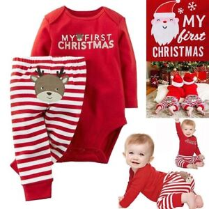 Christmas Jumpsuit Baby.Details About Newborn Baby Boy Girl My First Christmas Jumpsuit Romper Bodysuit Pants Outfits