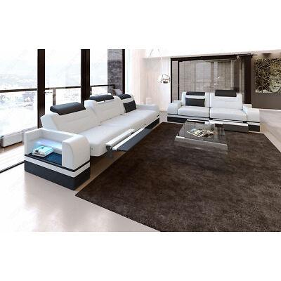Leder Sofagarnitur PARMA 3er + 2er Couchgarnitur Designer Sofa LED  Beleuchtung