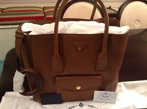 Prada Daino Side Zip Twin Pocket Tote Bag Brown Brandy Leather ...