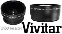 Pro Hd Wide Angle & 2.2x Telephoto Lens Set For Sony Nex-vg30h Nex-ea50uh