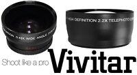 Pro Hd Wide Angle & 2.2x Telephoto Lens Set For Sony Nex-vg30h Nex-ea50uh