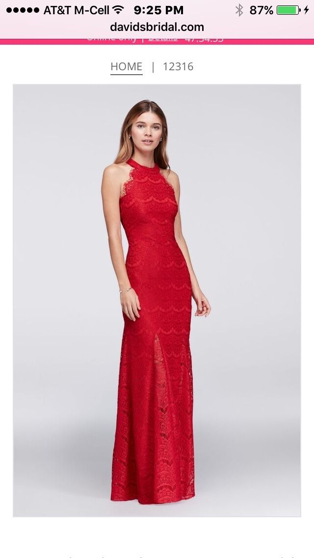 Lace Halter Long Prom Dress from David's Bridal