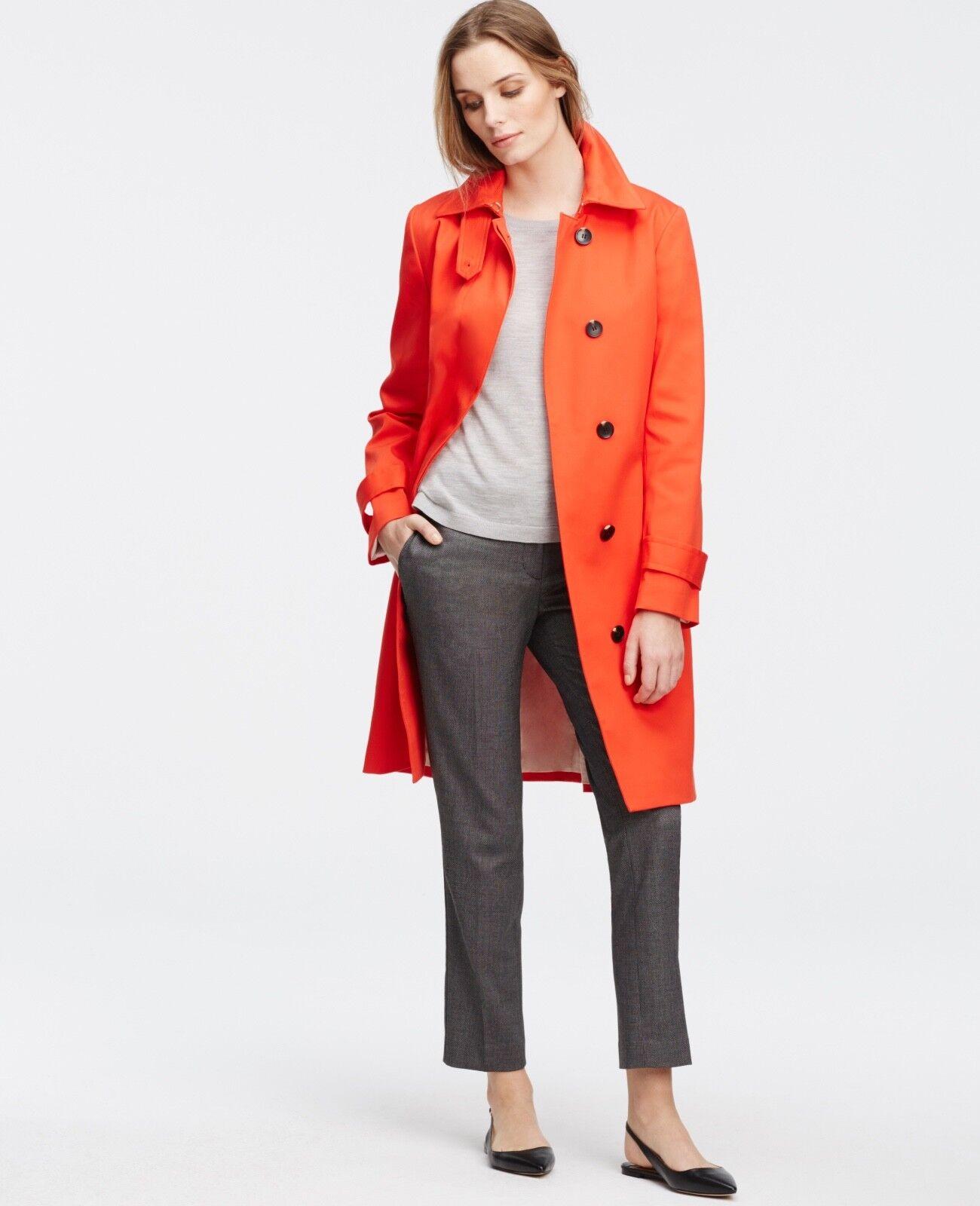 Ann Taylor Topper Trench Coat Sz S orange Cotton