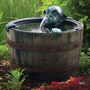 Image Is Loading Pond Fountain Decorative Man In Barrel Pump Water