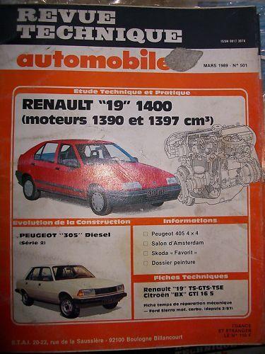 revue tech RTA 501 Renault 19 moteurs 1390 1397 cm3