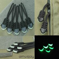 (5) Paracord Zipper Pulls - fits- Tactical Rush Back Packs Molle Bags- Black
