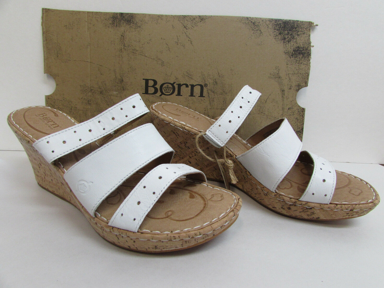 Born Größe 10 Weiß Cork Heels Wedge Heels Cork New Damenschuhe Schuhes 1a9eec
