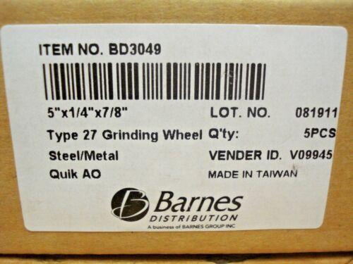"""BD3049 Type 27 Grinding Wheel 5/"""" x 1//4/"""" x 7//8/"""" Qty: 5 Quik AO 12,200 RPM"""