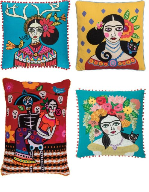 Ian Snow Boho Style Frida Kahlo Cat Day of The Dead Cushion Covers /& Infills