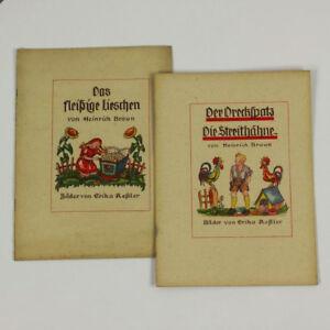 2-Kinder-Bilder-Buecher-Heinrich-Braun-1946-Das-fleissige-Lieschen-Der-Dreckspatz