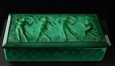 art deco Jade, green malachite Ingrid art glass box, Schlevogt Pazourek
