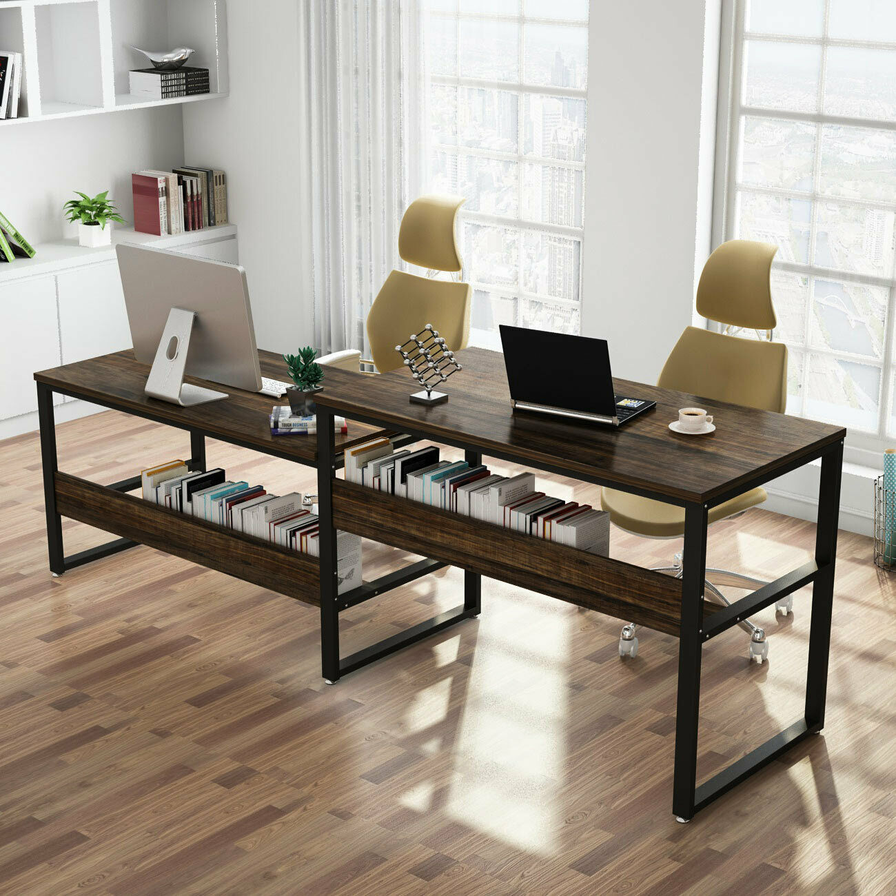 Tribesigns 94 48 Rustic Two Person Desk Double Computer Desk Sit Home Office