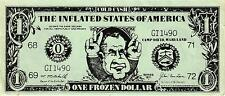 """$1.00 POLITICAL SATIRICAL NOTE ON NIXON """"COLD CASH,INFLATED STATES OF AMERICA"""