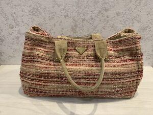 a98e6810 Details about Prada Large Shopper Bag Wool Multicolore Stripped Textile  Tote Handbag