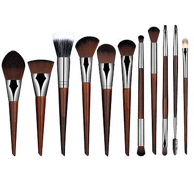 Wood Handle Makeup Cosmetic Eyeshadow Foundation Blush Brow Concealer Brush Set