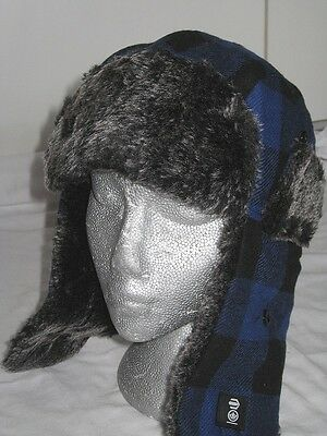 BNWT - CROSSHATCH Faux Fur Wool Blend Trapper Hat  Blue Black Checks