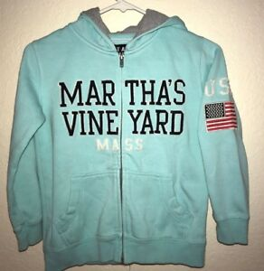 girls size XS aqua MARTHA'S VINEYARD HOODIE JACKET MASS 6/7