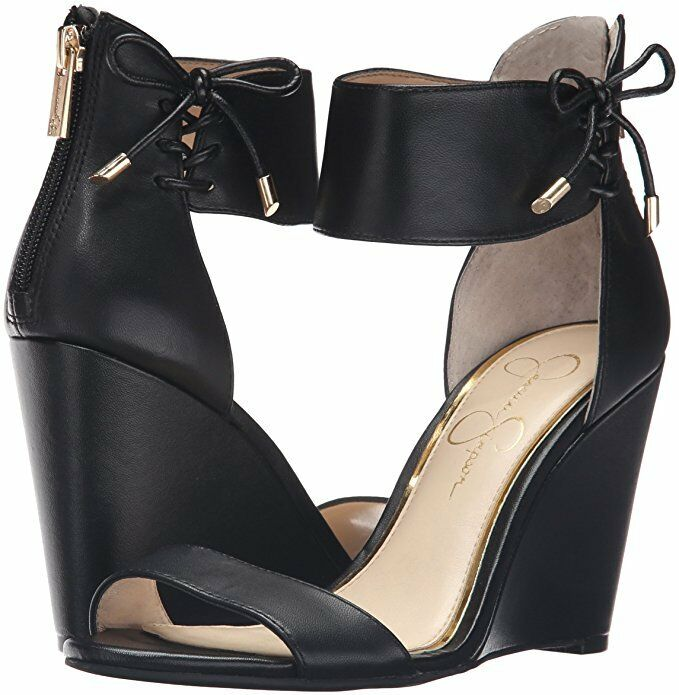 Jessica Simpson Breeley 6.5 Black Leather Round Opentoe Ankle-Strap Wedge Dress
