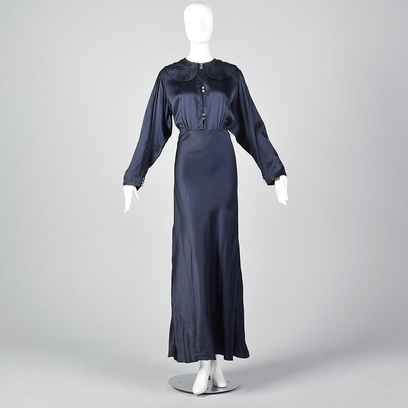 XXL 1930 S bleu marine soie à hommeches longues robe formelle Robe de Soirée PLUS TAILLE Volup 30 S