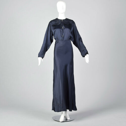 XXL 1930s Navy Silk Long Sleeve Dress Formal Gown