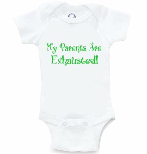 Parents Are Exhausted Funny Onesie Cute Baby Shower Gift Infant Bodysuit Creeper