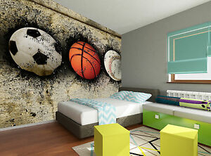 Basketball baseball and soccer wall mural photo wallpaper for Basketball mural wallpaper