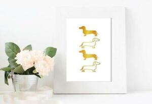 Dachshund Sausage Dog Gold Foil Poster Print Wall Art Picture Home Decor Gift