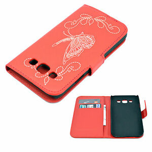 Red-Credit-Card-Slot-Leather-Stand-Flip-Case-Cover-For-Samsung-Galaxy-E5-E500F