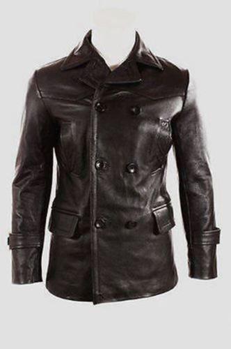 Deutsch Submariner WW2 Retro Herren schwarz Jacke echtes Leder Mantel