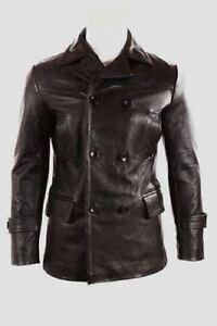en Veste manteau noir cuir Ww2 German Vintage Submariner 4qT6tqPX