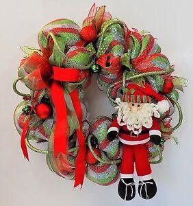 Details About Santa Christmas Wreath Deco Mesh Ribbons Ornaments Bells Xmas Holiday Decoration