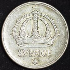 1946 Sweden Silver 50 Ore, Very Fine Condition, Free Shipping in USA, C3590