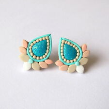 Holographic Glitter Turquoise Ivory Coral Small Studs Bridal Wedding Earrings