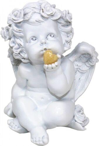 Süßer Engel mit Edelsteinherz Orangencalcit 16 cm Poly Schutzengel mit Herz gelb