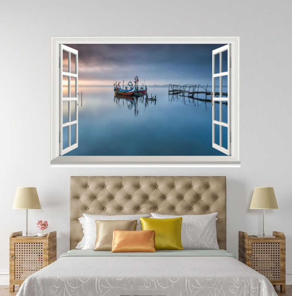 3D Blau River Boat 027 Open Windows WallPaper Wandbilder Wall Print AJ Jenny