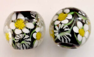10pcs-exquisite-handmade-Lampwork-glass-beads-black-flower-14mm