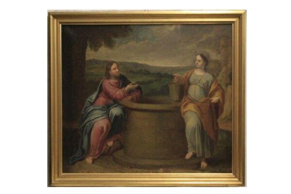 """ Jesús 'e La Mujer Samaritana Con Pozo "" Óleo Sobre Lienzo De Fecha Xvi Siglo / Conducir Un Comercio De Rugidos"