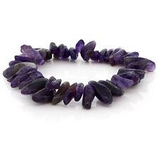Womens 7 Inch Natural Genuine Purple Amethyst  Stone Chip Stretchy Bracelet